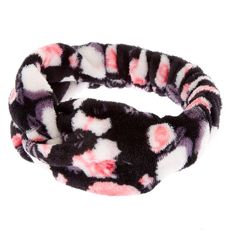 Floral Knotted Makeup Headwrap - Black,