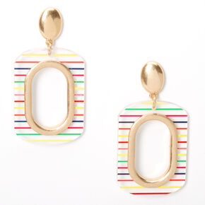 "Gold 2.5"" Rainbow Striped Rectangle Drop Earrings,"