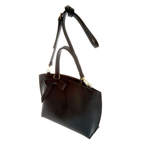Bow Accent Satchel Crossbody Bag - Black,