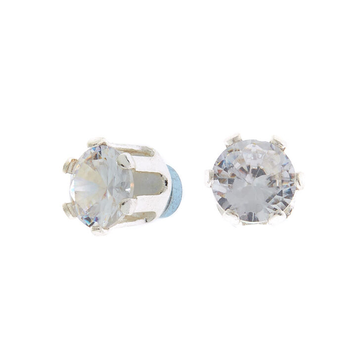 Silver Cubic Zirconia Round Magnetic Stud Earrings - 6MM,