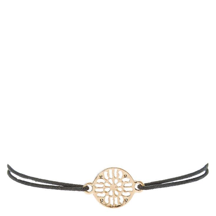 Black Double Stretch Bracelet with Filigree Charm,