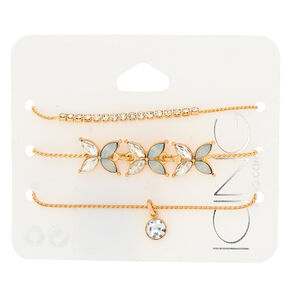 Gold Glass Rhinestone Statement Bracelets - Opal, 3 Pack,