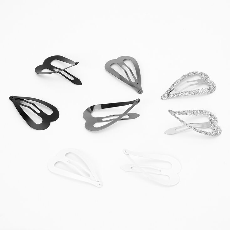 Glitter Neutral Heart Snap Hair Clips - 8 Pack,