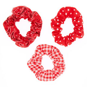 Bandana Print Mix Hair Scrunchies - Red, 3 Pack,
