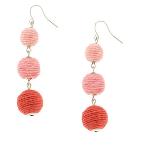 Pink Ombre Ball Drop Earrings,