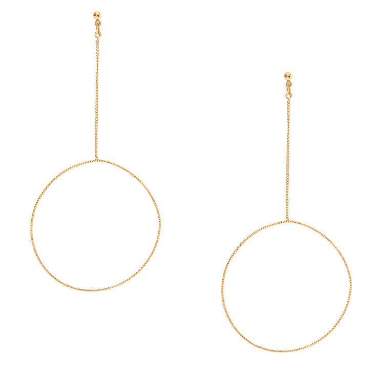 Gold-tone Circle Drop Earrings,