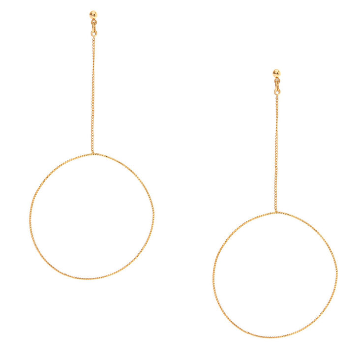 Gold-tone Circle Drop Earrings,