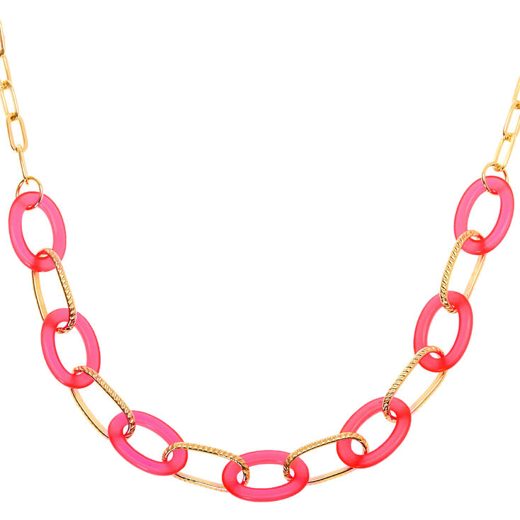 80s Fashion— What Women Wore in the 1980s Icing Gold Chain Statement Necklace - Neon Pink $12.99 AT vintagedancer.com