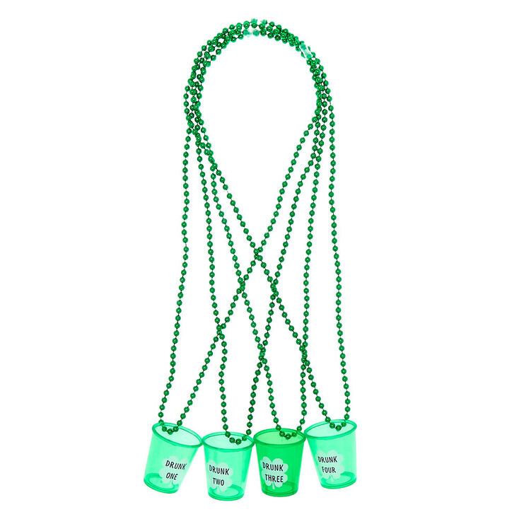 Shot Glass Beaded Necklaces - Green, 4 Pack,