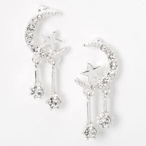 "Silver 1"" Celestial Drop Earrings,"