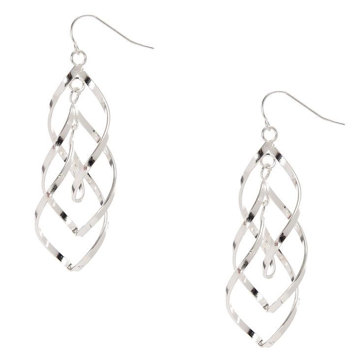 Silver Tone Double Swirl  Drop Earrings,