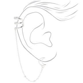Silver Crescent Moon Ear Connector Earrings,