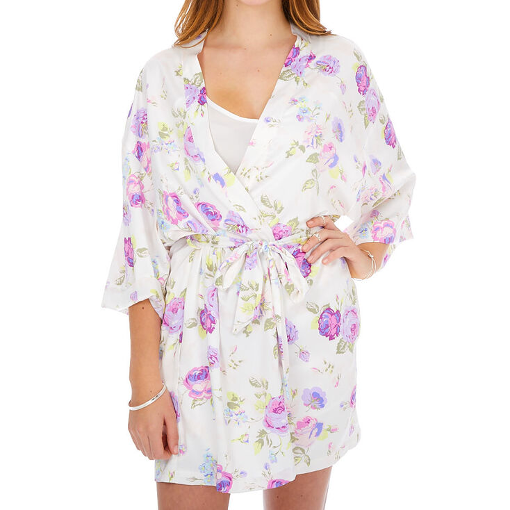 Floral Satin Robe - White,
