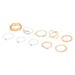 Mixed Metal Textured Ring Set - 10 Pack,