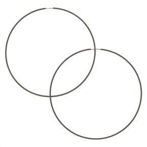 Hematite Hoop Earrings - 100MM,
