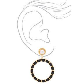 """Gold Pearl 3"""" Woven Drop Earrings,"""