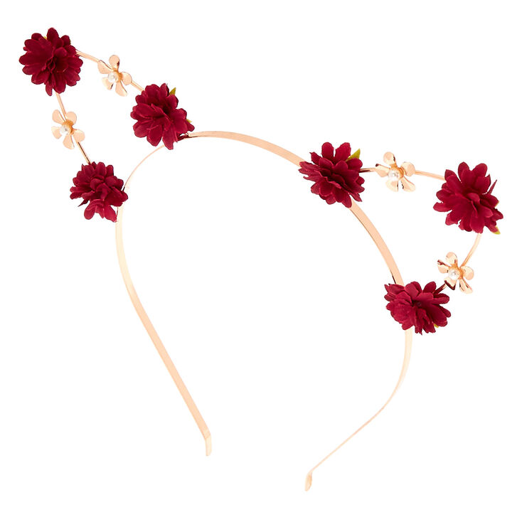 Rose Gold Flower Girl Cat Ears Headband - Burgundy,