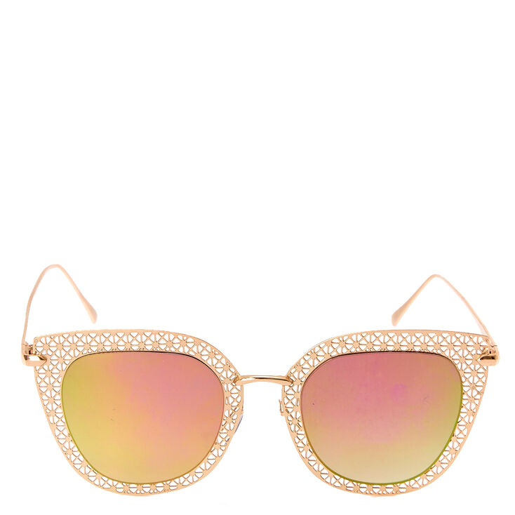 Rose Gold Cat Mirrored Sunglasses,