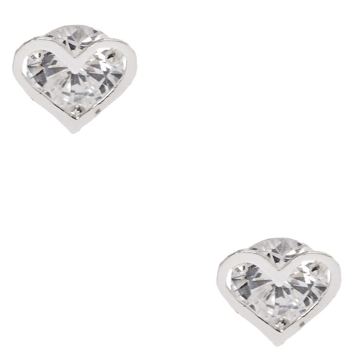Sterling Silver Cubic Zirconia Heart Cage Earrings,
