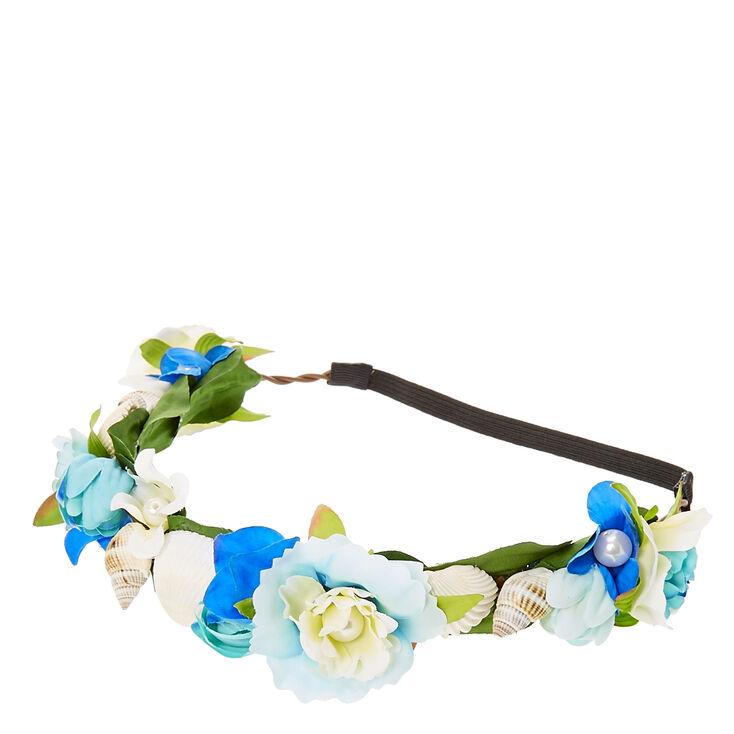 Blue Flower & Seashells Hair Garland,