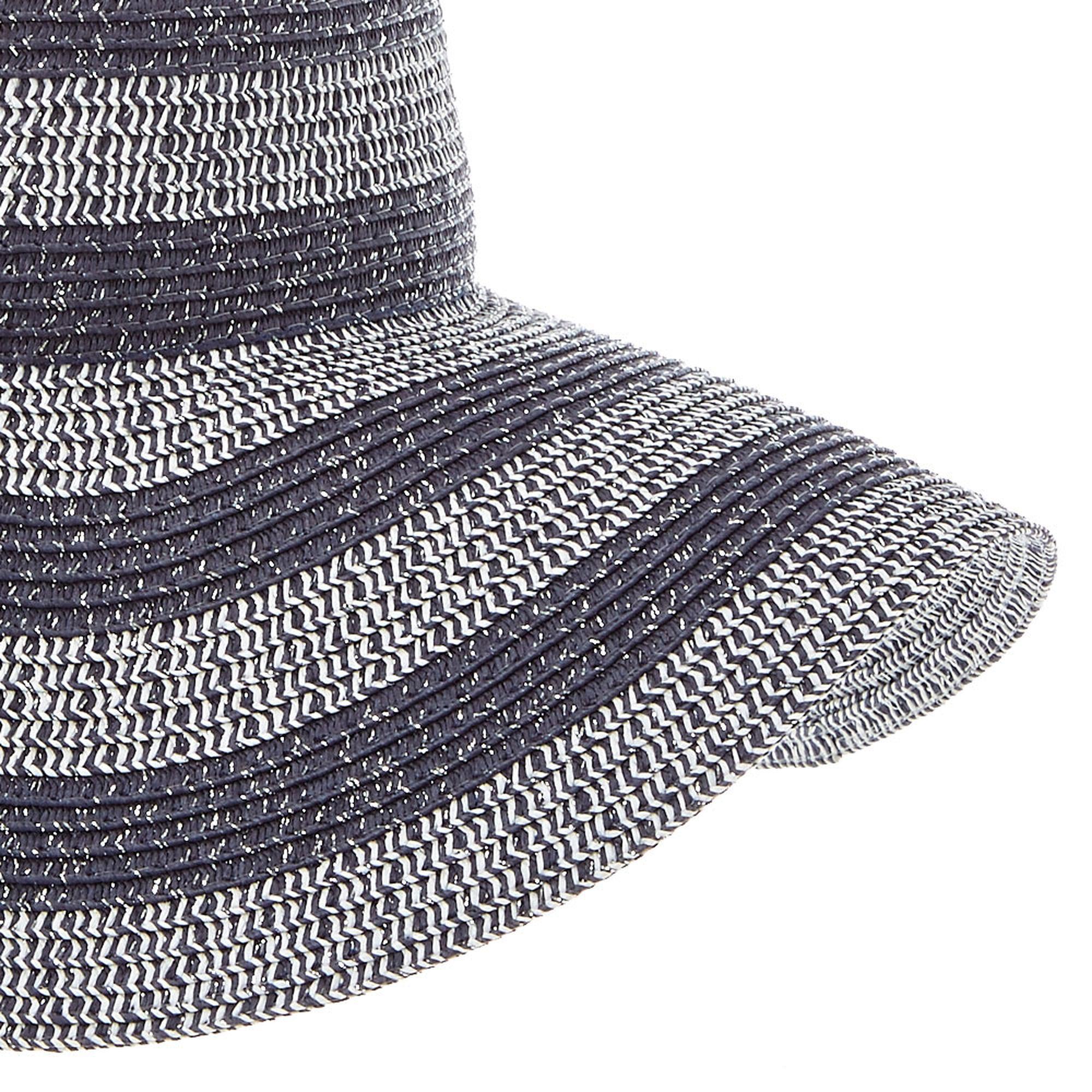 5dfc696dfee ... Gray Tinsel Striped Floppy Straw Hat