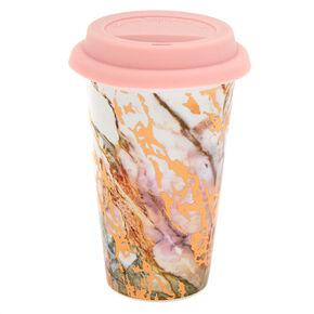 Ceramic Marble Travel Mug - Rose Gold,