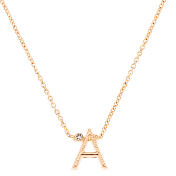 Gold Stone Initial Pendant Necklace - A,