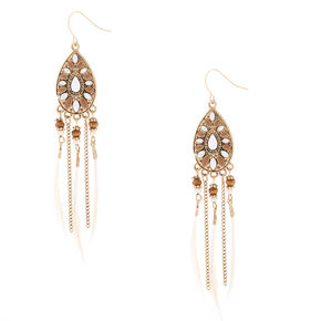 "Gold 4"" Beaded Feather Teardrop Drop Earrings - White,"