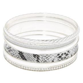 Silver Snake Skin Bangle Bracelets - 7 Pack,