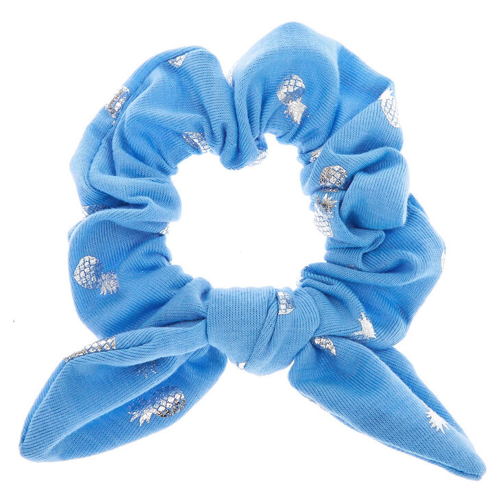Small Pineapple Knotted Bow Hair Scrunchie - Blue,
