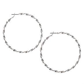 Silver 60MM Twisted Hoop Earrings,