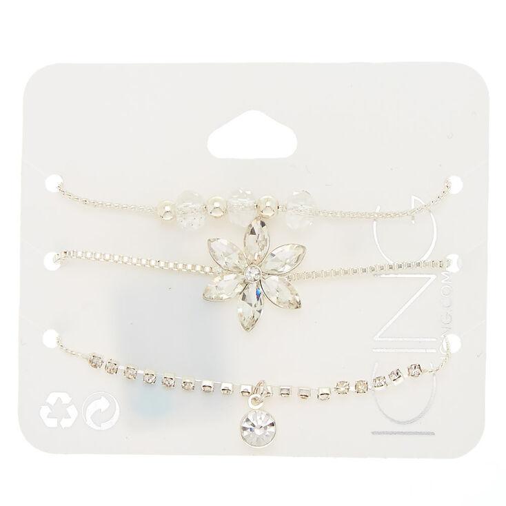 Silver Fancy Floral Adjustable Bracelets - 3 Pack,