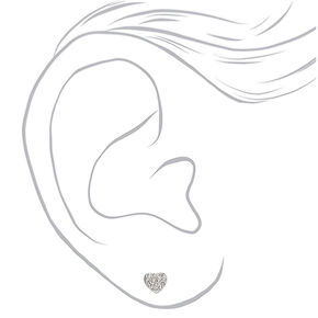 Silver Crystal Stud Earrings - 6 Pack,