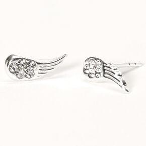 Sterling Silver Crystal Angel Wing Stud Earrings,