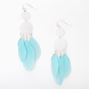 "Silver 3"" Filigree Feather Drop Earrings - Mint,"