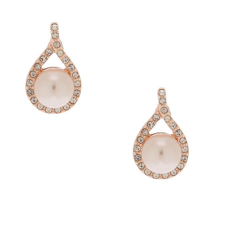 Rose Gold Pearl Pear Stud Earrings,