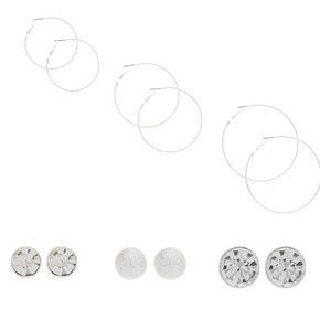 6 Pack Silver-Tone Stud and Hoop Earrings Set,
