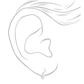 """Sterling Silver .5"""" Embellished Heart Drop Earrings,"""