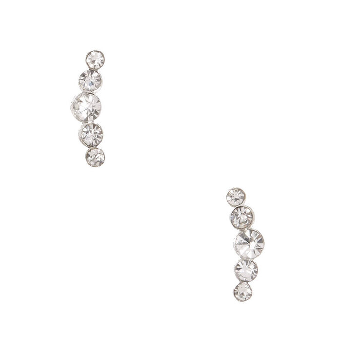 925 Sterling Silver Crystal Crescent Earrings,