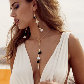 Gold Black & White Tassel Long Necklace,