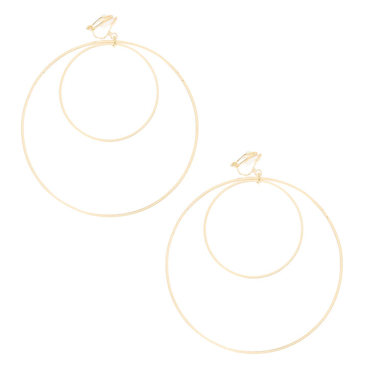Gold Double Circle Clip On Hoop Earrings,