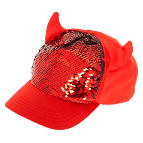 Reversible Sequins Devil Baseball Cap - Red,