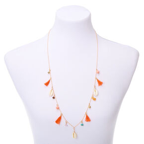 Gold Shell Tassel Long Pendant Necklace - Coral,