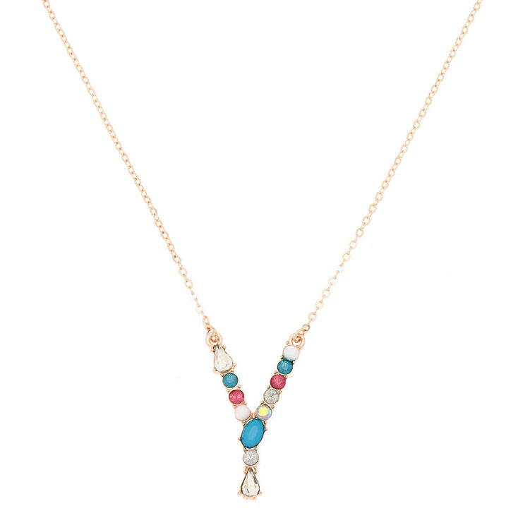 Embellished Long Initial Pendant Necklace - Y,
