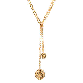 Gold Chunky Chain Long Y-Neck Pendant Necklace,