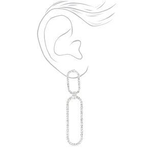 """Silver 3"""" Rhinestone Double Link Drop Earrings,"""