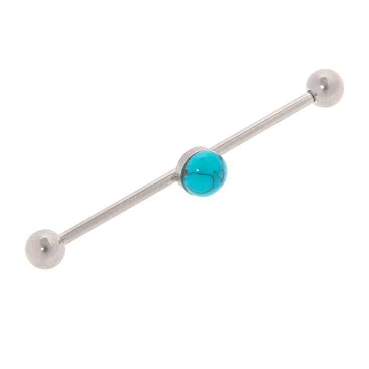 14G Silver with Turquoise Industrial Piercing Bar,