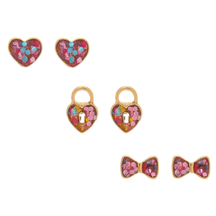 18kt Gold Plated Confetti Shape Stud Earrings - 3 Pack,