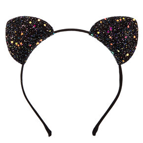 Black Glitter Cat Ears Headband,
