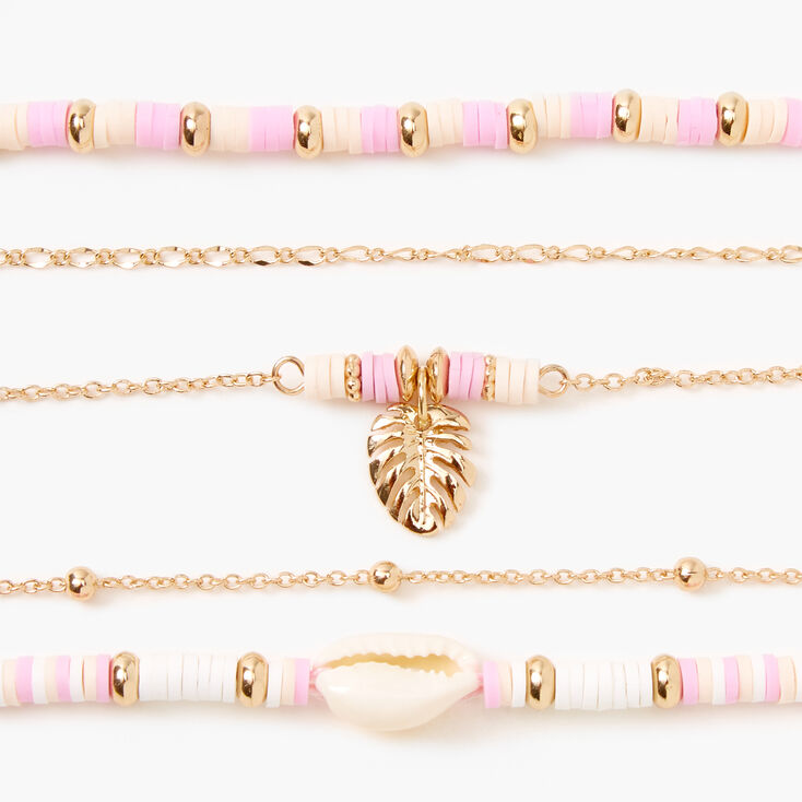 Gold Disc Seashell Chain Bracelets - Pink, 5 Pack,